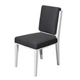 White Wood & Charcoal Linen Dining Chair