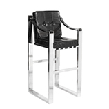 Tall Martini Strap Barstool - Black Leather & Steel Frame