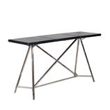 Black Russian Architect Console - Leather & Steel Base
