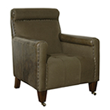 Commodore Armchair - Loden leather & Green Wool