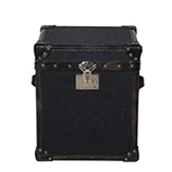 Baron Side Table Trunk - Charcoal Wool & Blue Jacquard Lining
