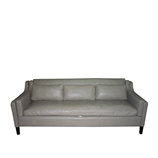 Sofa High 3-Seater Leather Taupe