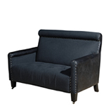 Martini Strap Armchair - Black Leather & Steel Frame