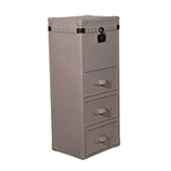 Tall Leather Trunk - Taupe