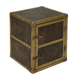 Sidecar SideTable Storage - Loden leather & Red Jacquard Lin