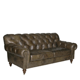Old Fashion 3 Seater - Loden Leather & Stoned Linen