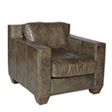 Whiskey Collins 1 Seater - Loden leather & Red Jacquard