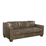 Whiskey Collins 3 Seater - Loden leather & Red Jacquard